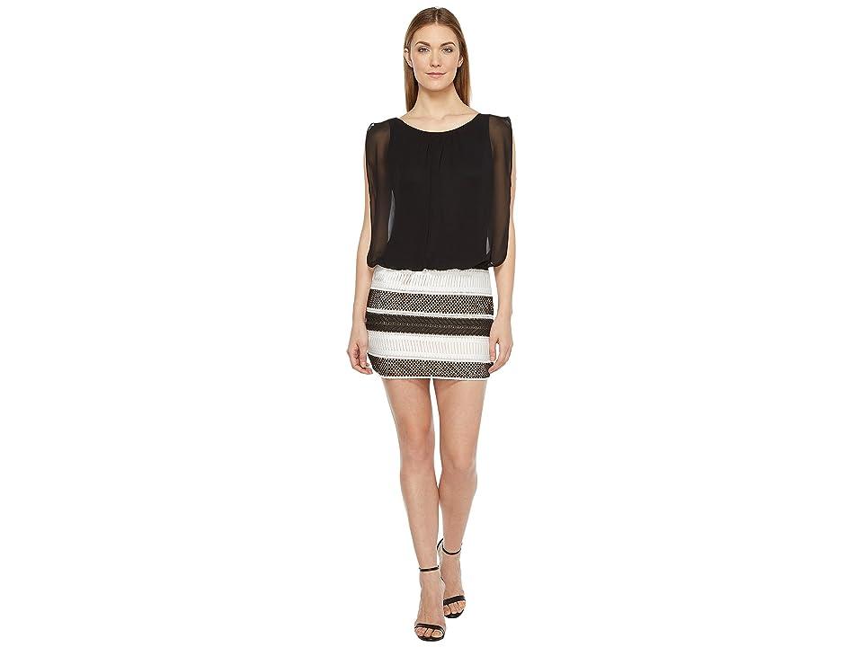 Aidan Mattox Lace and Chiffon Blouson Dress (Black/Ivory) Women