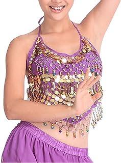 24d7b6f892f8 VENIMASEE Veni MASEE Danza del Ventre Oro Paillettes Reggiseno con  Imbottitura, Danza del Ventre Costume