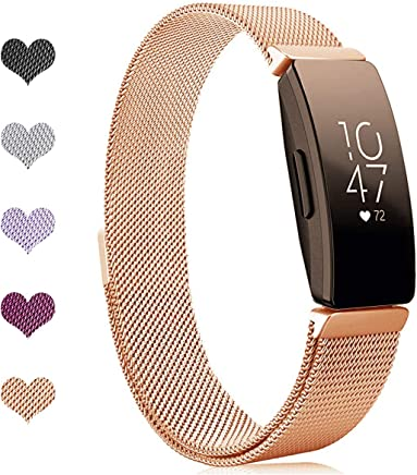 Intoval Compatible with Fitbit Inspire HR Bands/Fitbit Inspire Band,Inspire hr Metal Mesh Stainless Steel Magnetic Men Women Replacement Bands for Fitbit Inspire & Inspire HR Fitness Tracker.