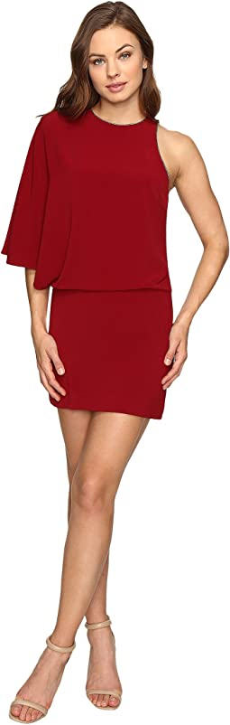 Halston Heritage - Asymmetrical Boat Neck Mini Dress w/ Back Drape