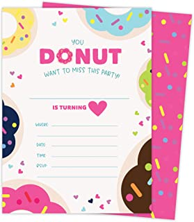 Donut Style 1 Happy Birthday Invitations Invite Cards (25 Count) with Envelopes and Seal Doughnut Stickers Boys Girls Kids Party (25ct)