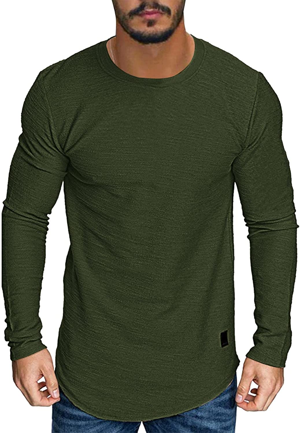 Huangse Mens Solid Color Extended Curved Hem Pullover Hipster Hip Hop Swag Top Blouse Long Sleeve Round Neck Tee Shirt