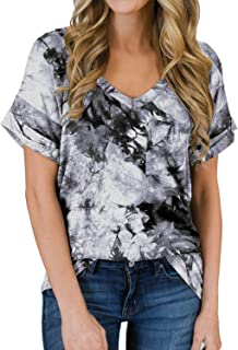DOROSE Women's Casual V Neck T Shirts Short Sleeve Cute Summer Tops Tee