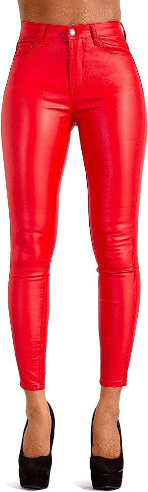 Glook,leggings per donna sexy,vita alta,in ecopelle