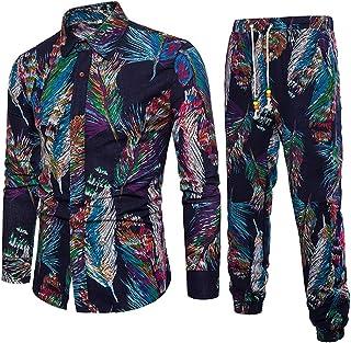 Pingtr Mens Colored Feather Print Set Men's Casual Long Sleeve Shirt Business Slim Fit Shirt Print Blouse Top+Pants Sets