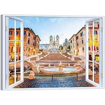 LuxHomeDecor - Cuadro de Ventana Roma Plaza de España, 100 x 75 cm, impresión sobre Lienzo con Marco de Madera, decoración Arte Moderno: Amazon.es: Hogar
