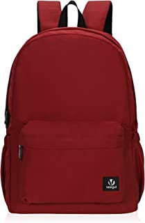 Veegul Lightweight School Backpack Classic Bookbag for Girls Boys (Red)
