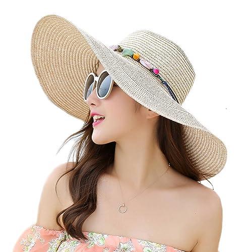 Adrinfly Women Floppy Sun Hat Travel Packable Wide Brim Adjustable Beach  Straw Accessories Hat UPF 50 73ec6b6d6711