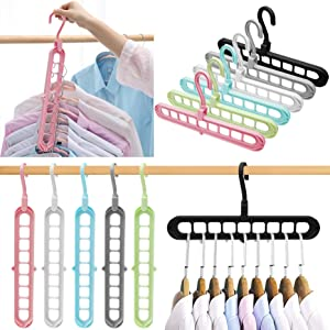 Dorm Room Essentials,Closet Organizers and Storage,6 Pack Sturdy Hangers for Closet Organizer,Closet Storage,Smart Closet Organization,Magic Space Saving Hanger With 9-Holes for Wardrobe Heavy Clothes