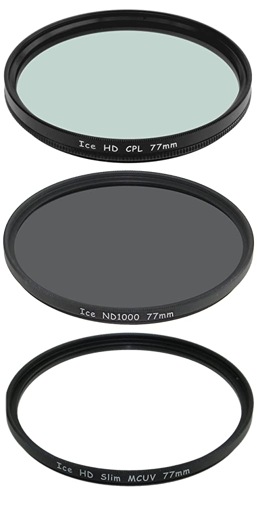 Set of 3 ICE 77mm Filter ND1000, UV & CPL Neutral Density ND 1000 77 10 Stop Optical Glass