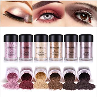 BONNIE CHOICE 6 Colors Glitter Eyeshadow Power, Loose Pigments, Loose Eyeshadow, Highly Pigmented Eye Glitter Makeup Eye Shadow Powder Shimmer for Party, Festival, Makeup, Nail Art Tips Decoration