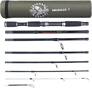 Best Rigged & Ready Smuggler 7, Travel Fishing Rod. Fishing kit - 7 Piece, 8ft 6in & 7ft rods, Performance, Nano Carbon Rod with 2 Unbreakable tip. Travelling Fishing Pole That fits in Your Cabin Luggage! Review