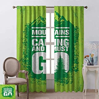 Adventure, Curtains Printed, Grungy Display Mountains and Retro Letters Call of The Woods, Curtains for Doors with Windows, W96 x L108 Inch, Lime Green Fern Green White