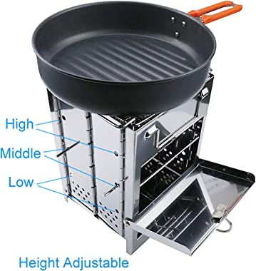 Wood Burning Camp Stove with Folding Stainless Steel 430# Grill Food Grade Portable Charcoal Barbecue Grills for Outdoor Gril