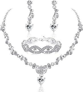 Udalyn Juego de joyas de cristal para novia para mujer, collar y pendientes con diamantes de imitación, conjunto de joyerí...