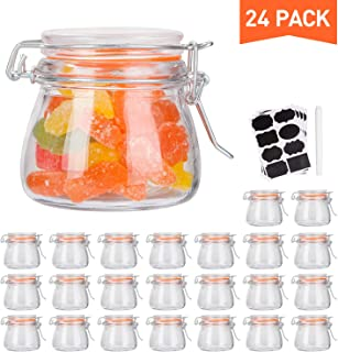 Small Glass Jars With Airtight Lids,Encheng Glass Spice Jars 5 oz,Maosn Jars With Leak Proof Rubber Gasket 150ml,Glass Storage Containers With Hinged Lid,Mini Kitchen Canisters 24 Pack