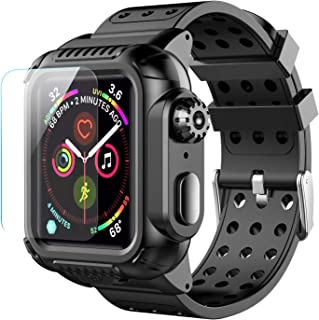 Apple Watch Case Series 4 44mm Band, Temdan Full-Body Built-in Screen Protector Rugged Shockproof Case with Premium Soft Silicone Apple Watch Band for Apple Watch Series 4 44mm 2018 Black