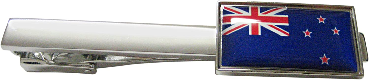 Thin Bordered New Zealand Flag Square Tie Clip
