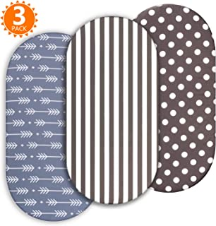 Momcozy Universal Bassinet Sheets, 3 Pack Sheet Set for Baby Boys, Fit for Bassinet Mattress Pad Cover, Like Oval Halo, Chicco Lullago, Arms Reach, Ingenuity