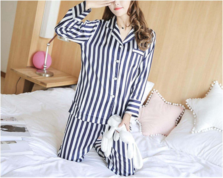 Nelliewins Ladies Pyjamas Faux Silk Spring Autumn Long Sleeve Striped Pijama women Satin Pajama Sets Womens Nightwear Set