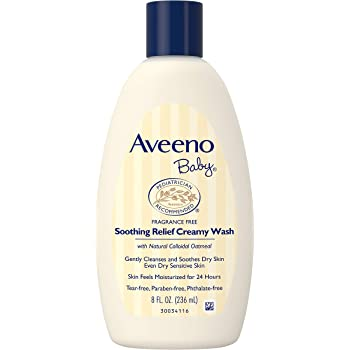 Aveeno Baby Soothing Relief Creamy Wash with Natural Colloidal Oatmeal for Dry & Sensitive Skin, Hypoallergenic & Tear-Free Formula, 8 fl. oz