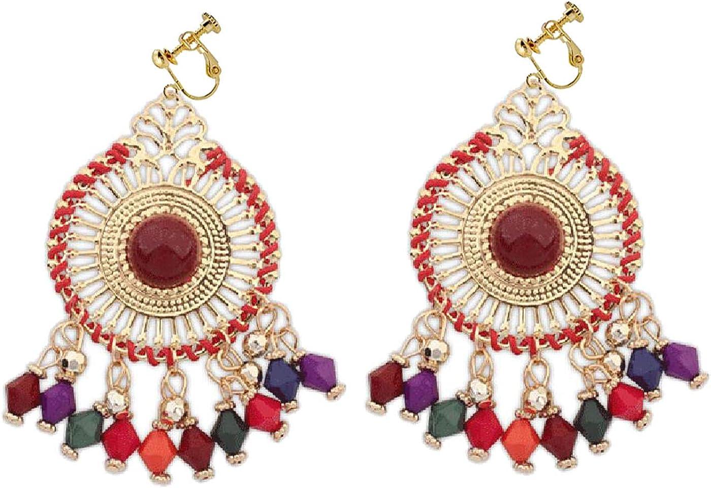 Retro Clip on Earrings Bohemian Earrings for Women Girls Sun Dangle Drop Beaded Tassel Vintage Statement Indians