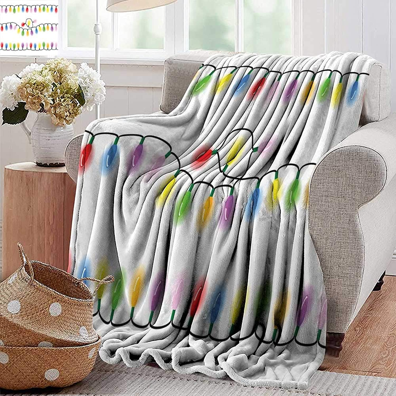 PearlRolan Velvet Touch Ultra Plush,Kids Christmas,Add Vibrant colors to Your Xmas Party Theme Carnival Event Objects Print,Multicolor,300GSM,Super Soft and Warm,Durable Throw Blanket 50 x70