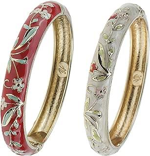 Cloisonne Bracelet Butterfly Gold Hinge Indian Cuff Bangle Enameled Jewelry Flower Bracelets for Women Gift Box 55A119