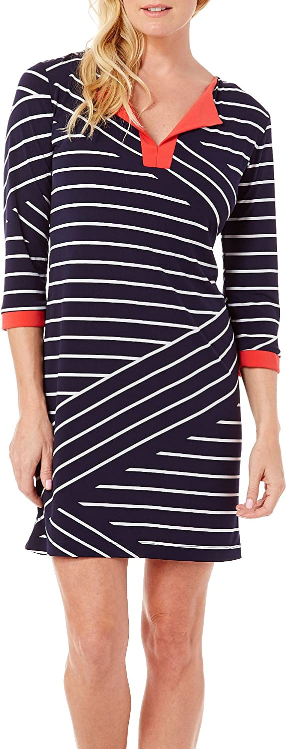 Tiana B Women's Dress with Contrasting Combo Solid Neck and 3/4 Sleeves Cuffs