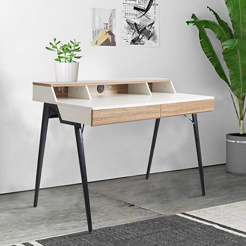 Dporticus 47 Computer Writing Desk With Drawers Wood Table Workstation For Home Office Metal Leg Oak And White