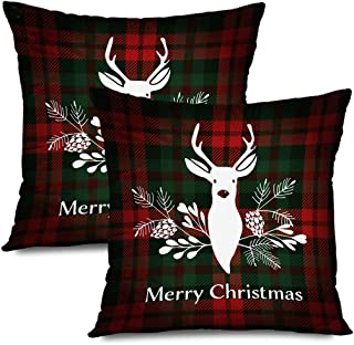Ahawoso Set of 2 Throw Pillow Covers Square 18x18 New Merry Christmas Greeting Tree British Scottish Invitation Design Reindeer Textures Holidays Zippered Pillowcases Home Decor Cushion Cases