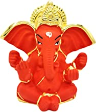 """Ganesh Statue 2.7"""" - Hindu God, Gold Plated Resin Statue, Red Color"""