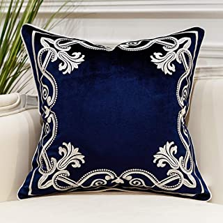 Avigers 20 x 20 Inch European Cushion Covers Luxury Velvet Home Decorative Embroidery Petunias Pillow Cases Pillowcase for Sofa Chair Bedroom Living Room, Navy Blue