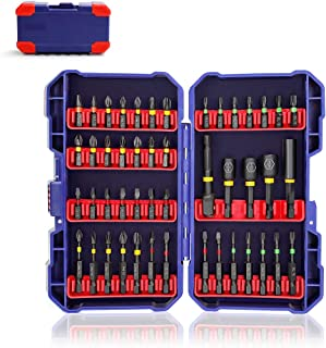 WORKPRO Impact Screwdriver Bit Set, S2 Alloy Steel Bit Set Including 1 In. and 2 In. Phillips, Square, Slotted, Torx Bits and Socket Adapter, Magnetic Nut Driver Bits, Extension Rod, (47-Piece)