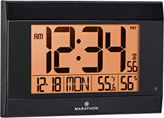 (White) - Marathon CL030052WH Atomic Digital Wall Clock With Auto-Night Light, Temperature & Humidity - Batteries Included