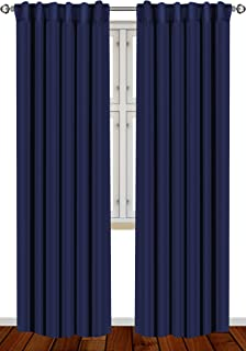 Utopia Bedding 2 Panels Blackout Curtains, W52 x L84 Inches, Navy, Thermal Insulated..