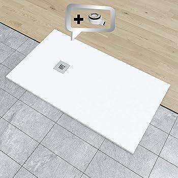 Crocket Plato de Ducha Resina Antideslizante Stone Blanco RAL 9003-80 x 90 Incluye Sif/ón y Rejilla Todas Las Medidas Disponibles Efecto Pizarra y Extraplano