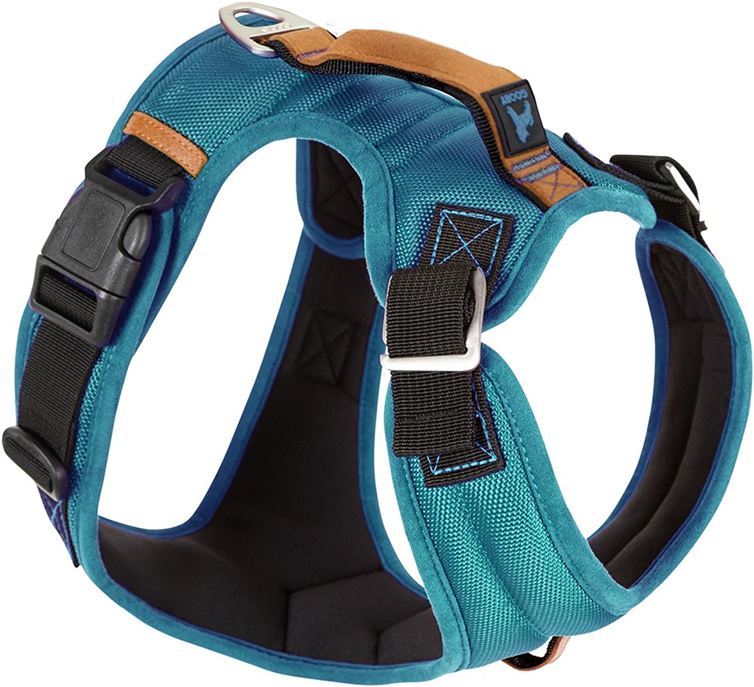 Gooby  Pioneer Dog Harness, Small Dog Headin Harness with Control Handle and Seat Belt Restrain Captability