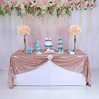 BalsaCircle TRLYC 60x102-Inch Rectangle Wedding Sequin Tablecloth for Wedding Party Christmas Day-Rose Gold