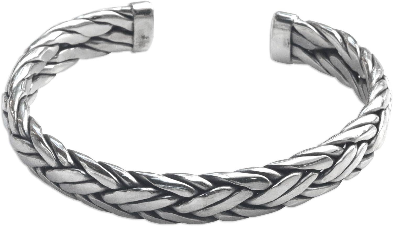 NOVICA Men's Modern Woven .925 Sterling Silver Cuff Bracelet 'Fl