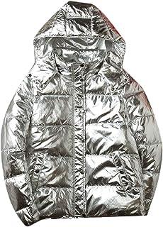 fanmeili-AU Mens Hoodies Stylish Padded Thicken Metallic Shiny Down Jacket Coat