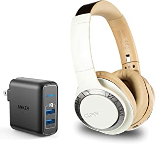 Cleer Audio Enduro 100 Over-Ear Lightweight Wireless Bluetooth Headphone Bundle with Anker PowerPort Elite 2 Ports USB Wall Charger - Sand
