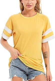 Womens Short Sleeve T-Shirts Crewneck Striped Tees Basic...