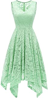 Meetjen Women's Cocktail V-Neck Dress Floral Lace Handkerchief Hem Asymmetrical Homecoming Dress