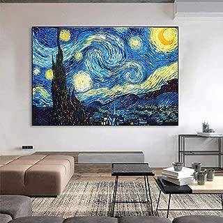 ZYWGG Lienzo Impresión Image Cuadro Van Gogh Starry Sky Wall Art Painting Abstract Printlandscape Wall Picture para La Decoración De La Sala De Estar