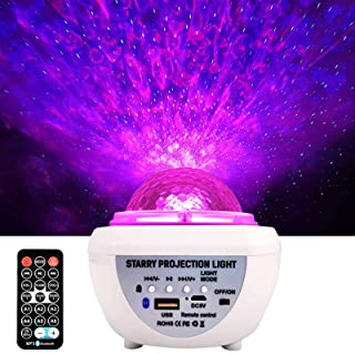 JIINOO Star Projector, Galaxy Night Light Projector with Bluetooth Music Speaker, Ocean Wave Laser Projector Rotating LED ...