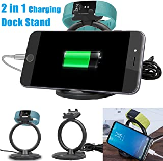 2 in 1 Charging Cradle Dock Stand Charger for Fitbit Charge 2, Wireless Charger for Samsung Galaxy S10 S9 S8 Plus Note 9