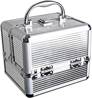 iGadgitz Home Aluminium Make Up Case, Cosmetic Case, Hard Vanity Case, Make Up Box, Beauty Case - 4 x Fold Out Trays, Larger Bottom Compartment & Carry Handle