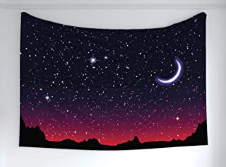 Ambesonne Night Tapestry, Red Sky at Night with Starry Landscape and Mountains Astrology Astronomy, Fabric Wall Hanging Decor for Bedroom Living Room Dorm, 90