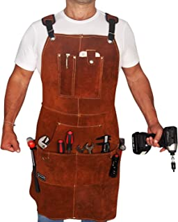 FIGHTECH Leather Work Apron with Tool Pockets for Men, Women | 36 x 24 | Welding Apron Ideal for...